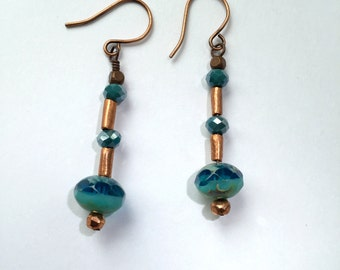 Teal Czech Glass and Copper Earrings