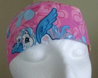 Pink My Little Ponies Chemo Cap or Skull Cap, Girls, Hat, Head Wrap, Bald, Flowers, Hand Made in the USA, Surgical Cap, Alopecia, Do Rag