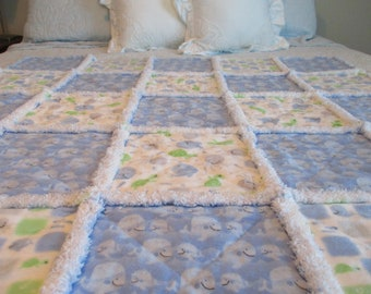 Nautical Rag Quilt / Fish Rag Quilt / Whale Rag Quilt / Baby Rag Quilt / Child Rag Quilt / Blue Rag Quilt