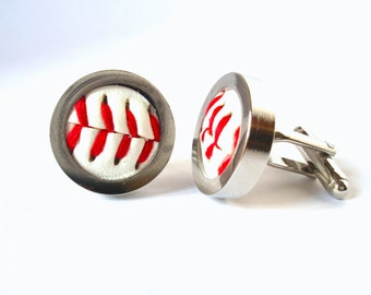 Baseball Cuff links - Made from Real Baseballs, Sport Cuff links, Wedding Cuff links, Silver Plated Cuff links
