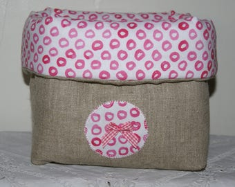 Fabric basket Organizer quilted pink circles and pink bow