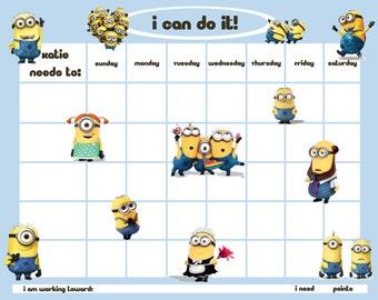 Personalized Children's Reward/Chore Chart - Minion Men