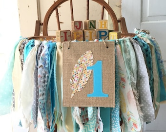 Boys High Chair Banner. Boho First Birthday Party Supplies.  Boho Baby High Chair Banner with Burlap Flag. Blue and Gray Galrand