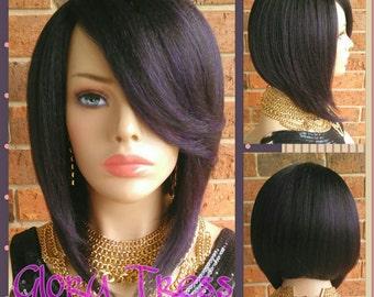 ON SALE // Short & Sassy Bob Full Wig, Yaki Straight Bob Wig, Purple Black Bob Wig, Natural Yaki Texture, Lace Parting // AWESOME