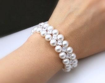 double strand swarovski white or cream round  pearl bracelet wedding jewelry bridal bracelet christmas rhodium Marquise Cubic Zirconia