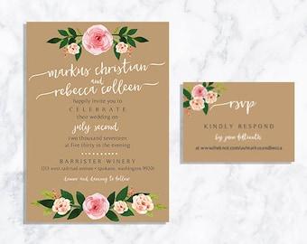 DIGITAL Blush Floral Wedding Invite + RSVP Card