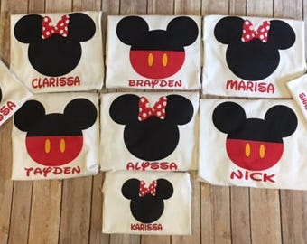 Mickey Mouse or Minnie Mouse Shirt Custom or Personalized in Kids and Adult Sizes