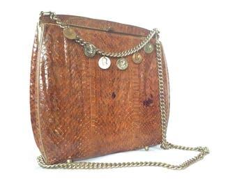 Vintage 1980's Snakeskin shoulder bag
