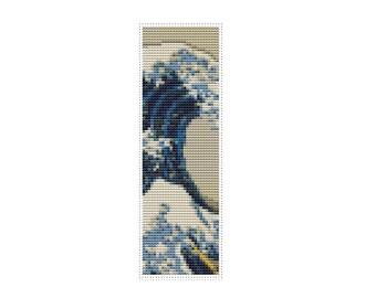 Great Wave off Kanagawa Bookmark Cross Stitch Pattern PDF, Asian Cross Stitch Chart, Katsushika Hokusai, Embroidery Chart