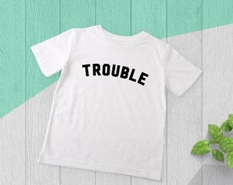Trouble Children's T-Shirt - Kids Grey T-Shirt - Organic Cotton Children's T-Shirt