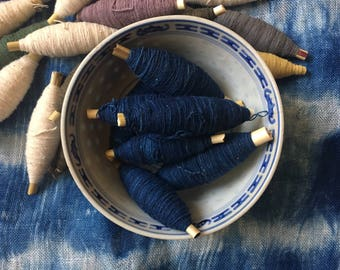 Shibori Indigo Cotton Thread/ Yarn - Sashiko Blue dyed good thread - Natural hand dye/ Plant dyes - Embroidery Supplies - Sewing/ Quilting