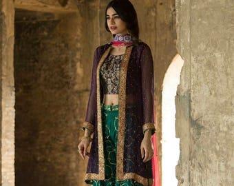 Pakistani formal dress, purple and green mehendi outfit, gharara pants, wide legged pants, women clothing