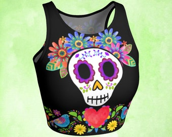 Sacred heart, Crop Top, sugar skull, Day of the Dead, Mexican embroidery, Mexican art, colorful crop top, heart and doves, cute top, gothic