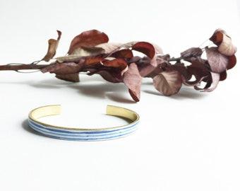 Fine cuff - bronze tone Bangle bracelet blue