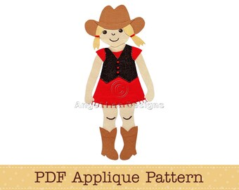 Cowgirl Applique Template. PDF Applique Pattern of Girl in Fringed Dress Vest Cowgirl Hat and Cowgirl Boots
