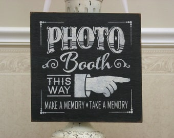 Photo BOOTH shabby sign with pointing hand, rustic wedding, photo op sign, reception sign, event planner, directional sign