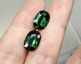 Green Sapphire Pair, Unheated, GIA, 5.03 and 5.01 ct
