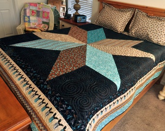 Modern Cowgirl Cowboy Country Western Style Big Star CUSTOM Queen Size Quilt with Black Aqua Tan Cowboy Boots Fabric Reversible LAST ONE