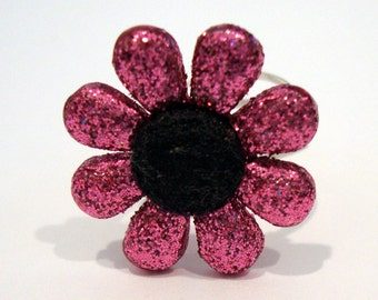 Glitter Daisy Flower Sterling Silver Ring