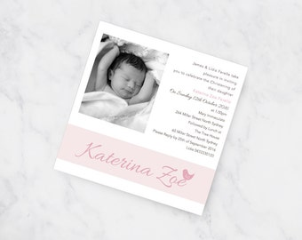 Lala Bird  Christening Invitation | Pink Girl Baptism Invititation