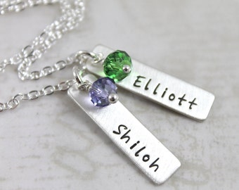 Mother's Day gift, Bar necklace, mother gift, personalized necklace, personalized gift, custom hand stamped, name necklace, name bar