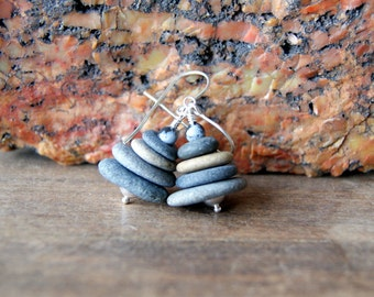 Cairn Stone Earrings with Sterling Silver Earwires