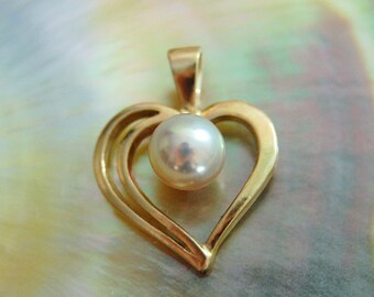 Cara - Freshwater Pearl Pendant, heart pendant, gold pearl pendant, June birthstone, sweet sixteen jewelry, pearl jewelry, gift, woman, teen