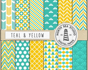 Teal And Yellow Digital Paper Pack | Scrapbook Paper | Printable Backgrounds | 12 JPG, 300dpi Files | BUY5FOR8