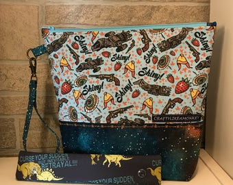 Firefly and Serenity inspired project zipper pouch with flat bottom and knitting needle cozy