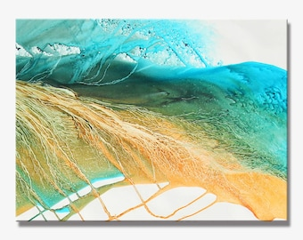 LEAVES SERIES #2010, Artist-Signed, Abstract Giclee Wall Art Print, Modern Home Decor, Contemporary Art ,Green Painting