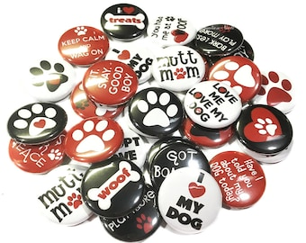 """Dog, Rescue Dog, 1"""", 1.5"""", 2.25"""", Button, Adopt a Dog, Mutt, I Love My Dog, Dog Party Favor, Dog Pin, Dog Button, Dog Badge, Dog Flat Back"""
