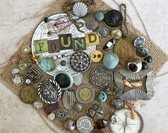 Sunken Treasures*Vintage Metal Button Lot*Weathered Metal Findings*Assemblage Mixed Media Junk Journal Supply