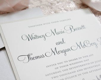 Gold and Silver  Lace Wedding Invitations, Southern Glam Wedding Invitations, Minimalist Wedding Invitations, Elegant | Whitney & Morgan