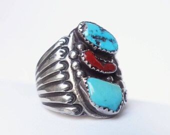 Huge Old Trio • Size 11 • Vtg Navajo Turquoise + Coral Handmade Nugget Sterling Ring - Signed