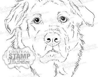 Dog Digital Stamp Art | Drawing Download | Digistamp Dog Sketch | Animal Art | Digital Scrapbooking | Scrapbooking Supplies | Dog Art