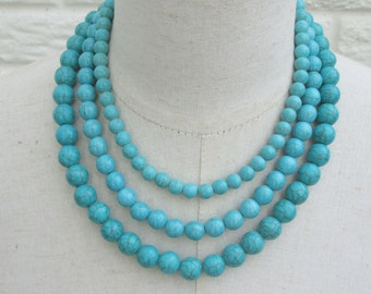 Turquoise Triple Strand Layered Necklace Blue Green Silver Customizable