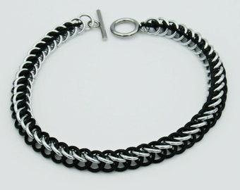 Black & Silver Chainmail Bracelet, Half Persian Weave, Chainmaille Bracelet, Chainmail Weave, Chainmail Jewelry, Handmade Bracelet
