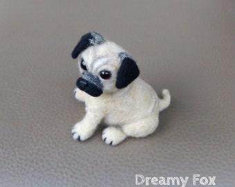 Needel felted pug