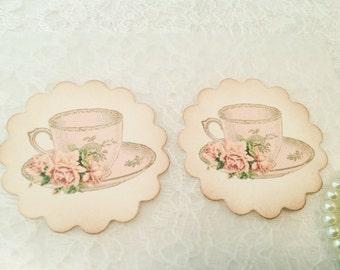 Tea cup Sticker-Kitchen Label-Kitchen sticker-Victorian stickers and favors-Set of 12