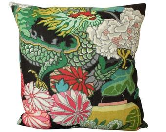 Schumacher Chiang Mai Dragon Pillow Cover in Ebony