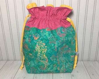 Large Drawstring Knitting Crochet Project Bag - Batik Seahorses