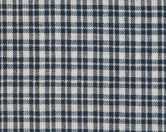 Blue And White Small Plaid Material | Blue Plaid Material | Homespun Material | Homespun Plaid Material | Rag Quilt Material