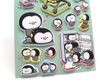 Penguin Stickers - Puffy Stickers - Kawaii Stickers - Animal Stickers