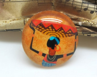 1 cabochon 25 mm glass 1-25 mm African style