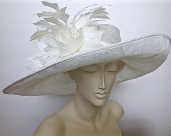Kentucky Derby Hat WHITE OR BLACK Straw Hat Wide Brim Hat Church Easter Hat
