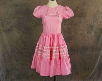 Clearance SALE vintage 60s Western Dress - 1960s Pink and Silver Patio Dress Square Dance Dress - Mexican Squaw Dress Sz S
