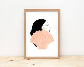 Girl and shell - illustration by depeapa, print, poster, A4 wall art, wall decor