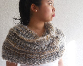 XL Tube Cowl in Nomad with Pompom Accent, handknitted