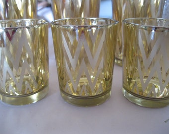 3- 2.5 inch Tall CEVRONGold Votive Candle holders, Wedding, Vintage inspired, Bridal Shower