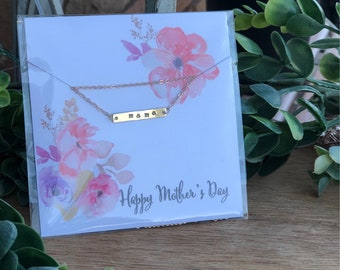 Mother's Day Custom Hand Stamped  Necklace || Gold || Choose Your Necklace & Card